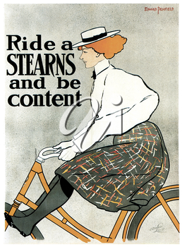 Royalty Free Clipart Image of an Old Sterns Bike Advertisement Poster
