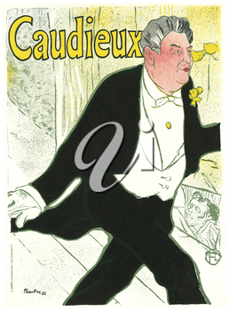Royalty Free Clipart Image of an Old theatre Poster of a Man Off to the Theatre