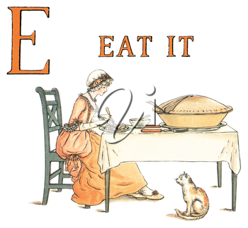 Royalty Free Clipart Image of a Woman at a Table with the Letter E and the Words Eat It Above Her