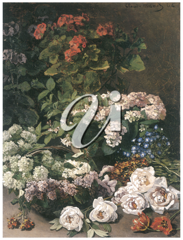 Royalty Free Clipart Image of a Monet Painting of Roses