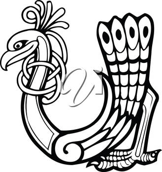Royalty Free Clipart Image of a Bird in the Shape of a U