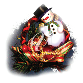 Royalty Free Clipart Image of a Snowman on a Wreath