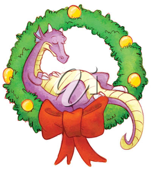 Royalty Free Clipart Image of a Dragon in a Wreath