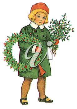 Royalty Free Clipart Image of a Child With a Wreath