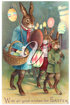 Royalty Free Clipart Image of the Easter Rabbit