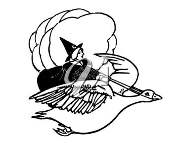 Royalty Free Clipart Image of a Witch Riding a Goose