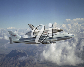 Royalty Free Photo of a Space Shuttle Piggyback 747