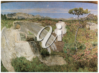 Royalty Free Clipart Image of Amor at the Fountain by Giovanni Segantini