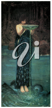 Royalty Free Clipart Image of Circe Invidiosa by John William Waterhouse