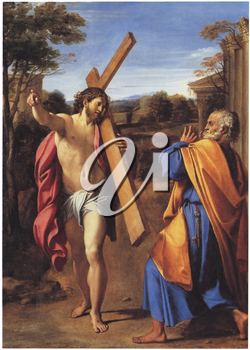 Royalty Free Clipart Image of Christ Appearing to St. Peter on the Appian Way by Annibale Carracci