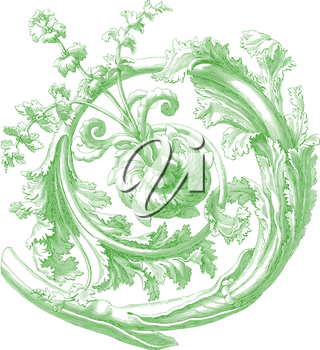 Royalty Free Clipart Image of a Floral Decorative Element