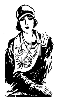 Royalty Free Clipart Image of a Portrait of a Woman