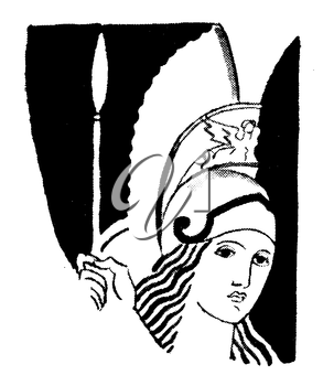Royalty Free Clipart Image of a Woman Dressed as a Greek Warrior