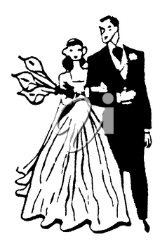 Royalty Free Clipart Image of a Father Walking His Daughter Down the Aisle