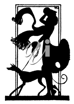 Royalty Free Silhouette Clipart Image of a Woman Walking Her Dog