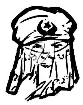 Royalty Free Clipart Image of a Woman Wearing a Traditional Hijab Head Dress