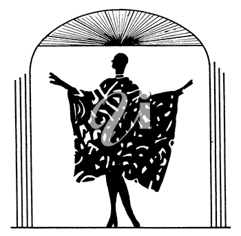 Royalty Free Silhouette Clipart Image of a Woman Showing off Her Dress Like a Fashion Show
