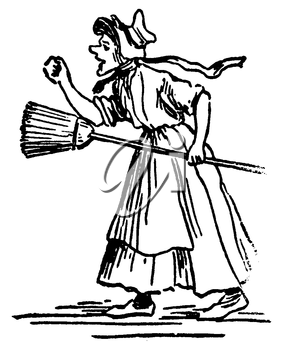 Royalty Free Clipart Image of an Old Lady Shaking her Fist While Holding a Broom in the Other