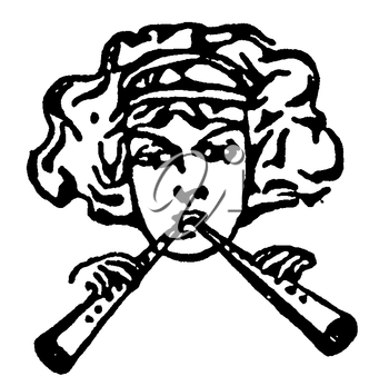 Royalty Free Clipart Image of a Woman Playing Wooden Pipes