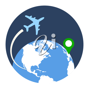 Business Travel Icon. Flat style illustration. Isolated in colored circle on white background.