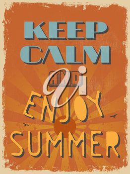 Retro Vintage Motivational Quote Poster. Keep Calm and Enjoy Summer. Vector illustration