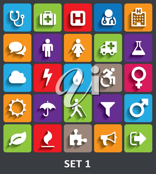Trendy Vector Icons With Shadow. Set 1