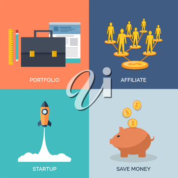 Set of flat design concept icons for business. Portfolio, Affiliate, Startup and Save Money. Vector Illustration.