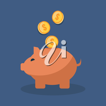 Save money concept. Flat design stylish. Isolated on color background