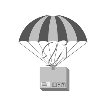 Parcel on parachute icon. Delivery concept. Symbol in trendy flat style isolated on white background. Illustration element for your web site design, logo, app, UI.