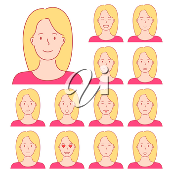Isolated set of female avatar expressions. Different emotions of a woman with blond hair. Hand drawn style doodle design illustration