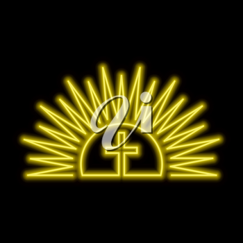 Shining sun and cross neon sign. Resurection concept. Bright glowing symbol on a black background. Neon style icon.