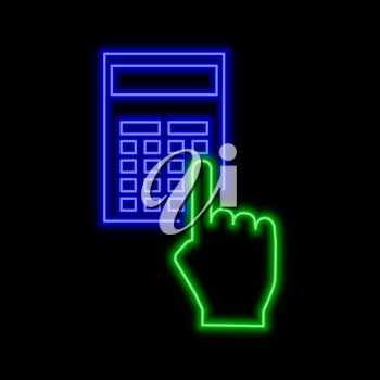 Computation neon sign. Bright glowing symbol on a black background. Neon style icon.