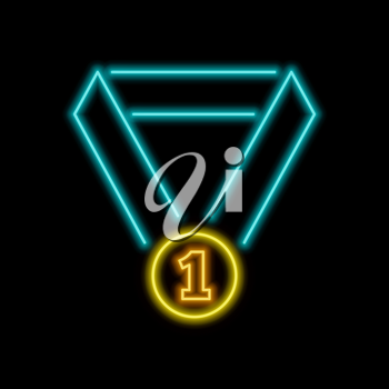 First place medal neon sign. Bright glowing symbol on a black background. Neon style icon.