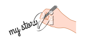 Hand with a pen writing word my story. Hand drawn style illustration