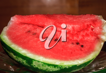 Ripe sliced watermelon in a plate of glass