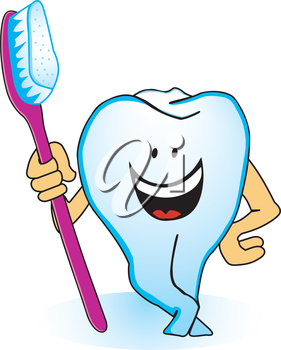 Illustration of smiling tooth with a toothbrush