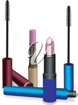 Two lipstick and ink for eyelashes in packings different colors