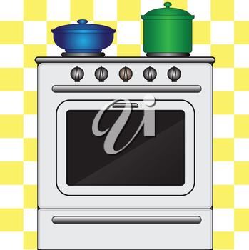 Illustration of cookstove with pots on a plaid background