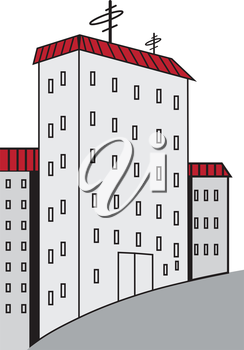 Illustration of symbolic high-rise buildings on a white background