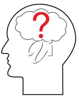 Illustration of the contour of a human head with question mark symbol