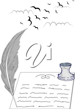 Illustration of a pen, inkwell, sheet of paper and silhouettes of birds in the clouds