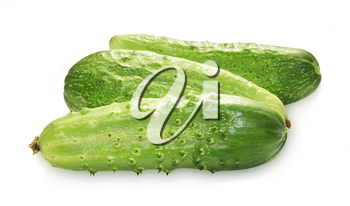 Three green cucumbers isolated on white background