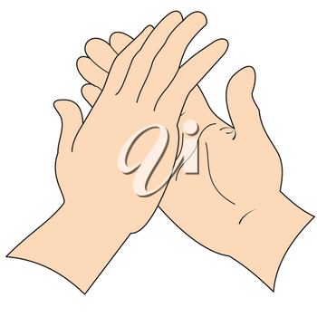 Illustration of two hands in greeting isolated on a white background