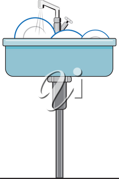 Illustration of a sink with dirty dishes