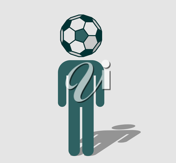 Royalty Free Clipart Image of a Human icon with ball instead head. Soccer fan metaphor