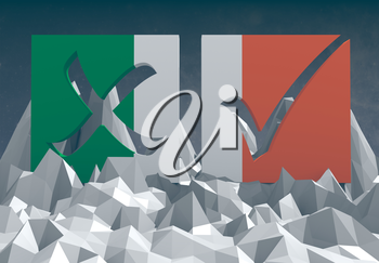 ireland national flag textured vote mark on low poly landscape