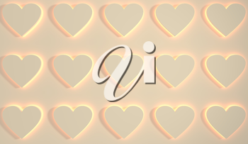 San Valentine card with heart shapes in 3D effect. Glowing icons