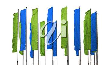 Several flagpoles with vertical green and blue flags