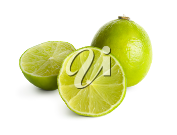 Delicious lime on white background. Clipping path.