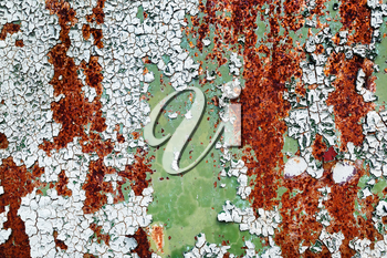 Rusty metal texture. Peeling paint surface with cracks and rust spots. Old weathered background.